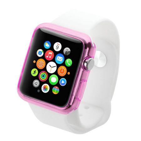 Ultra Dünn Schutzhülle Smartwatch Tasche Etuis TPU für Apple Watch 42mm Transparent Rosa – Bild 3