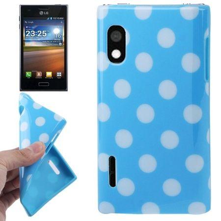 Schutzhülle TPU Punkte Case für Handy LG Optimus L5 / E610 blau/weiß