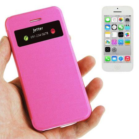 Handyhülle Tasche mit Fenster für iPhone 5C pink