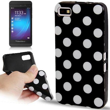 Schutzhülle TPU Punkte Case für Handy Blackberry Z10 schwarz