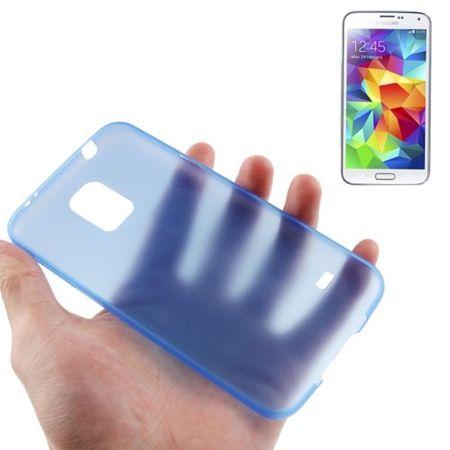 Schutzhülle Case Ultra Dünn 0,3mm für Handy Samsung Galaxy S5 / S5 Neo blau Transparent