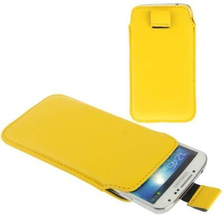 Handyhülle Tasche Slide für Handy Samsung Galaxy S4 i9500 / i9505 / i9506 / GT-i9515 / S5 / S3 / i9600 / i9500 / i9300 / i9250 / i8750 gelb