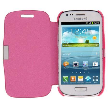Handyhülle Tasche für Samsung Galaxy S3 mini i8190 / i8195 / i8200 pink gebürstet – Bild 2