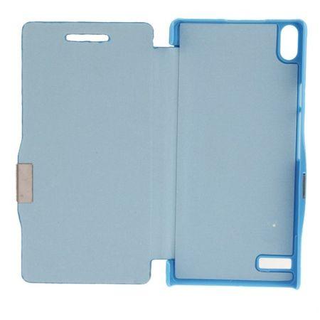 Handyhülle Tasche für Huawei Ascend P6 blau gebürstet – Bild 2