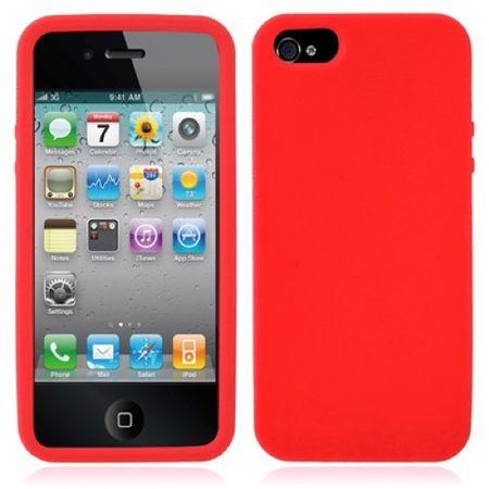 Schutzhülle Silikon Hülle für Handy iPhone 5 & 5s Rot