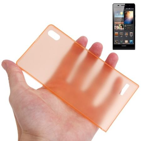 Schutzhülle Case Ultra Dünn 0,3mm für Handy Huawei Ascend P6 Orange Transparent
