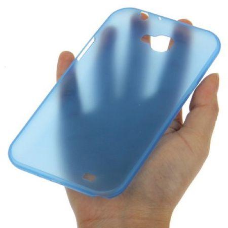 Schutzhülle Case Ultra Dünn 0,3mm für Handy Samsung Galaxy Note 2 N7100 Blau Transparent