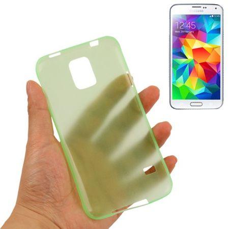 Schutzhülle Case Ultra Dünn 0,3mm für Handy Samsung Galaxy S5 / S5 Neo grün Transparent