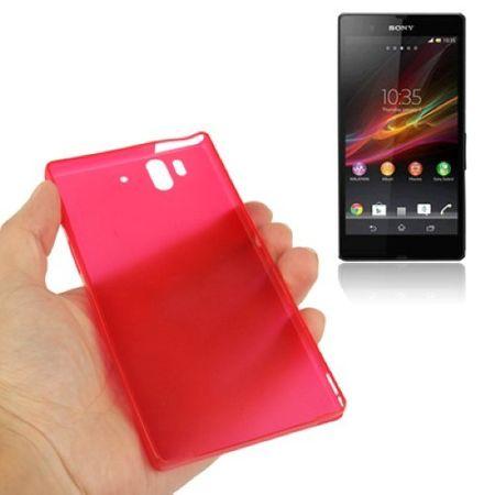 Schutzhülle Case Ultra Dünn 0,3mm für Handy Sony Xperia Z / L36H / C660X Rot Transparent