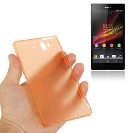 Schutzhülle Case Ultra Dünn 0,3mm für Handy Sony Xperia Z / L36H / C660X Orange Transparent