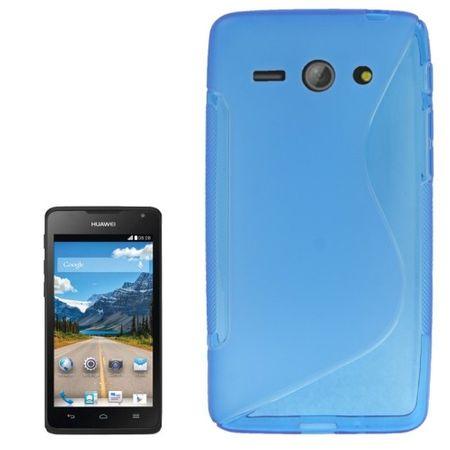 Handyhülle Silikon Case (S-Curve) für Handy Huawei Ascend Y530 Blau transparent