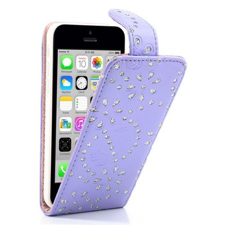 Schutzhülle Handy Case für Handy Apple iPhone 5c Strass Lila Violett