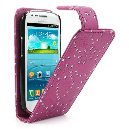 Handyhülle Strass für Handy Samsung Galaxy S3 mini i8190 / i8195 / i8200 Pink – Bild 2