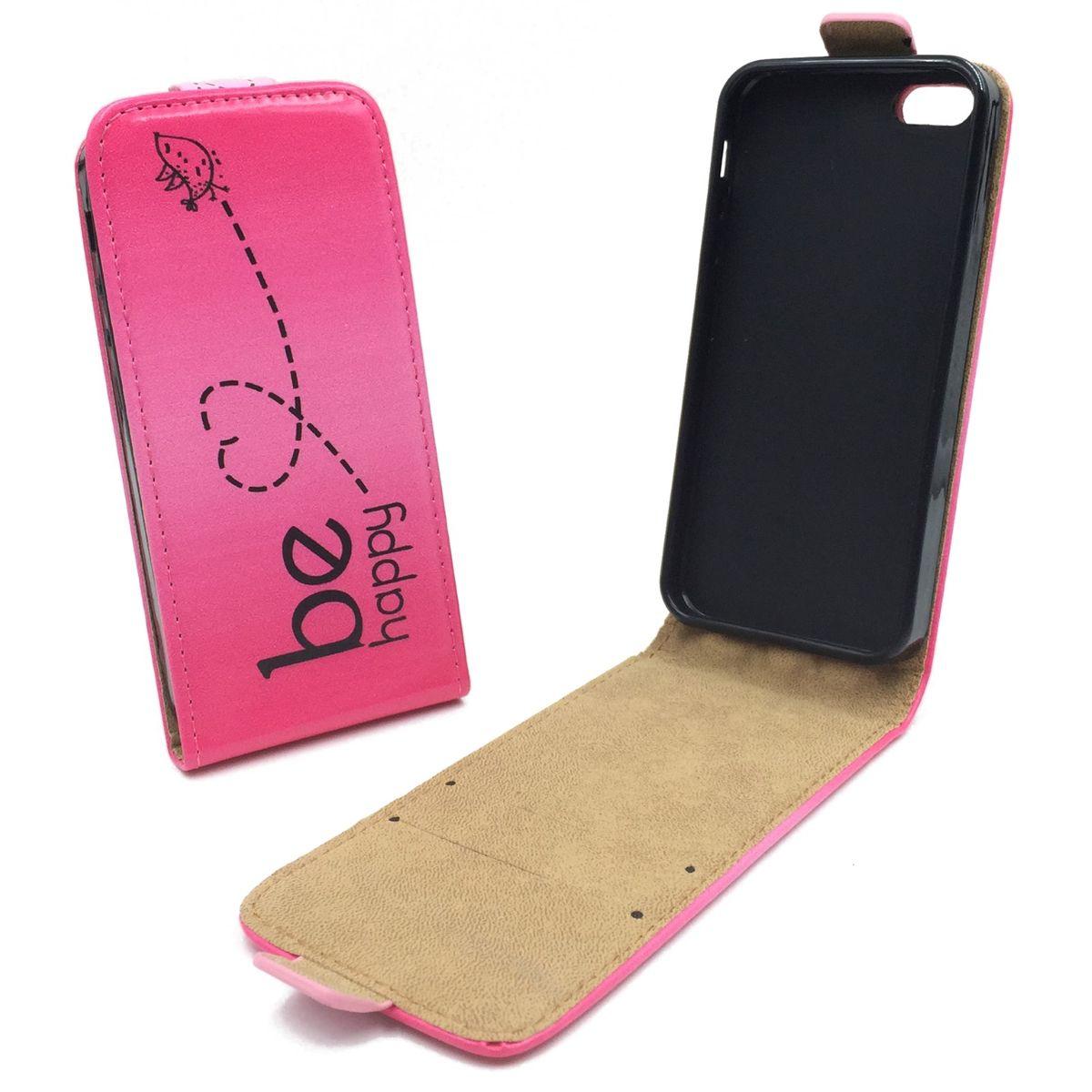 handyh lle tasche f r handy apple iphone se 5 5s be happy pink. Black Bedroom Furniture Sets. Home Design Ideas