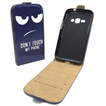 Handyhülle Tasche für Handy Samsung Galaxy J1 2016 Dont Touch my Phone