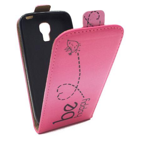 Handyhülle Tasche für Handy Samsung Galaxy S4 Mini Be Happy Pink – Bild 3