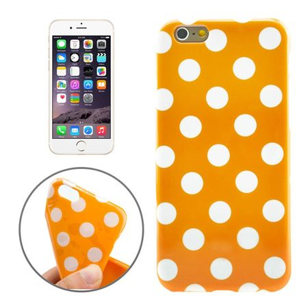 TPU Backcover Hülle gepunktet für Handy Apple iPhone 6 Plus Orange / Weiß