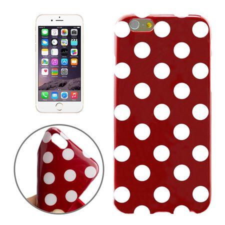 TPU Backcover Hülle gepunktet für Handy Apple iPhone 6 Plus Rot / Weiß