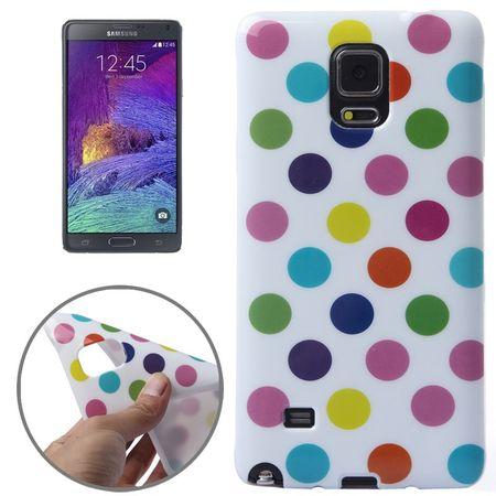 Schutzhülle für Handy Samsung Galaxy Note 4 SM-N910F Weiß / Bunt gepunktet