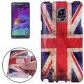 Hülle Retro Flagge TPU Tasche für Samsung Galaxy Note 4 SM-N910F Motiv England 001