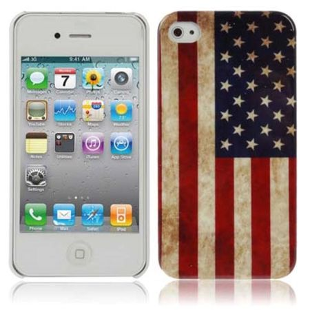 Hard Case Hülle Retro Fahne für Handy iPhone 4 & 4S Motiv USA