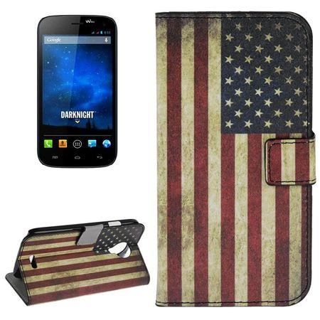 Schutzhülle Handytasche (Flip Quer) für Handy Wiko Darknight Retro Fahne USA