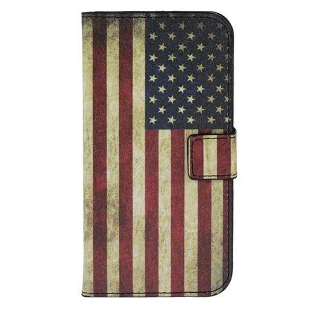 Schutzhülle Handytasche (Flip Quer) für Handy Wiko Darknight Retro Fahne USA – Bild 2
