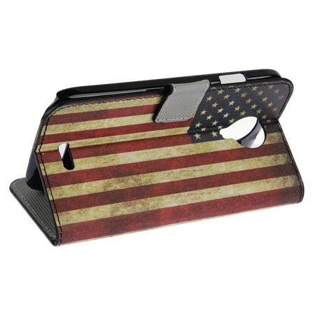 Schutzhülle Handytasche (Flip Quer) für Handy Wiko Darknight Retro Fahne USA – Bild 5