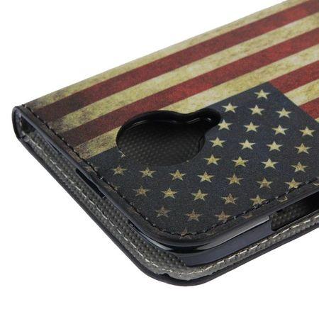 Schutzhülle Handytasche (Flip Quer) für Handy Wiko Darknight Retro Fahne USA – Bild 6