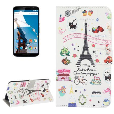 Schutzhülle Handytasche (Flip Quer) für Handy Motorola Google Nexus 6 XT1100 Paris Eiffelturm