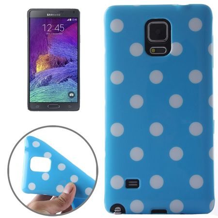 Schutzhülle für Handy Samsung Galaxy Note 4 SM-N910F Hellblau / Weiß gepunktet