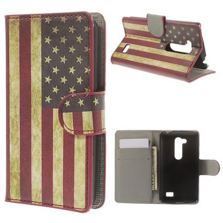 Schutzhülle Handytasche (Flip Quer) für Handy LG L Fino D290N D295 Retro Fahne USA