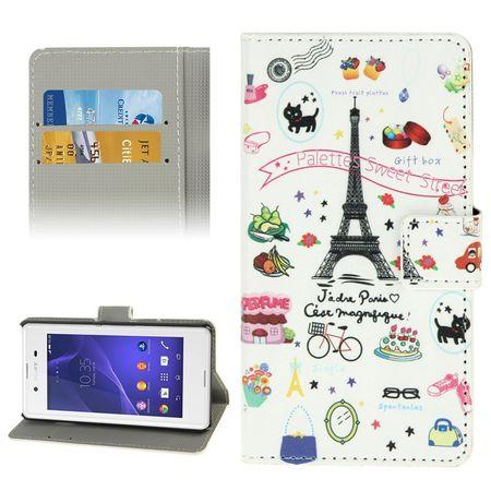 Handyhülle Tasche für Handy Sony Xperia E3 Motiv Paris Eiffelturm