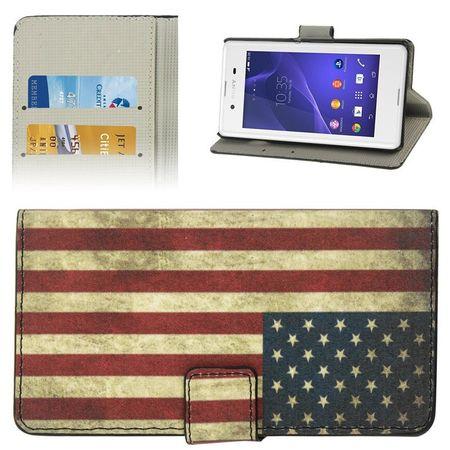 Handyhülle Tasche für Handy Sony Xperia E3 Retro Fahne USA
