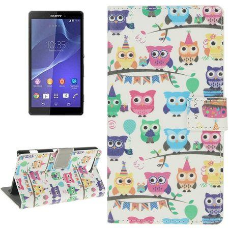 Handyhülle Tasche für Handy Sony Xperia Z3 Compact Bunte Eulen Party