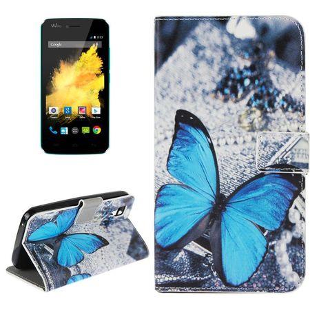 Handyhülle Tasche für Handy Wiko Sunset Blauer Schmetterling