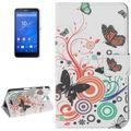 Handyhülle Tasche für Handy Sony Xperia E4 Schmetterlinge Bunt 001