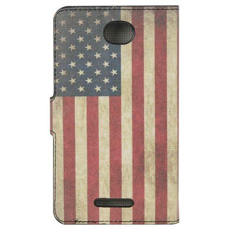 Handyhülle Tasche für Handy Sony Xperia E4 Retro Fahne USA – Bild 3