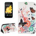Handyhülle Tasche für Handy Wiko Sunset Bunte Schmetterlinge 001