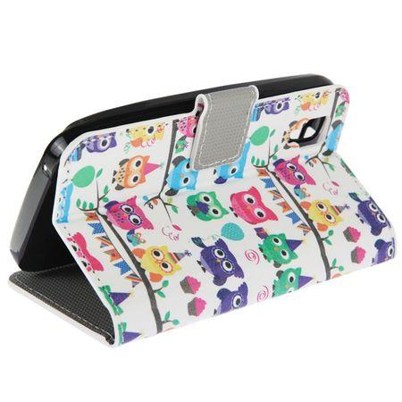 Handyhülle Tasche für Handy Wiko Sunset Bunte Eulen Party – Bild 5