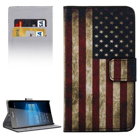 Handyhülle Tasche für Handy Microsoft Lumia 950 XL Retro Fahne USA