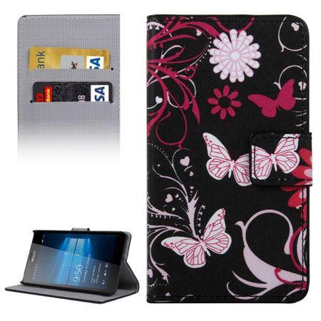 Handyhülle Tasche für Handy Microsoft Lumia 950 Schmetterlinge Schwarz
