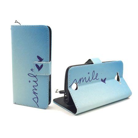 Handyhülle Tasche für Handy Acer Liquid Z530 Schriftzug Smile Blau – Bild 4