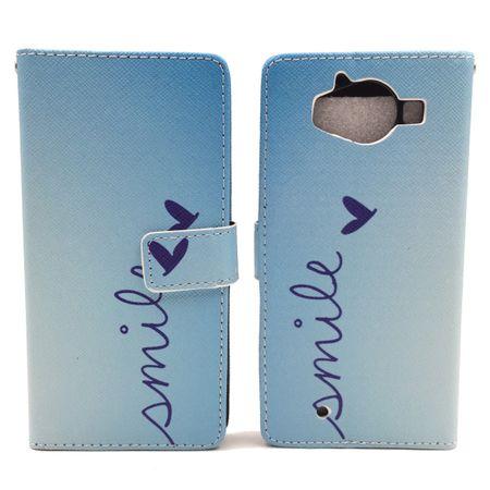 Handyhülle Tasche für Handy Microsoft Lumia 950 Schriftzug Smile Blau