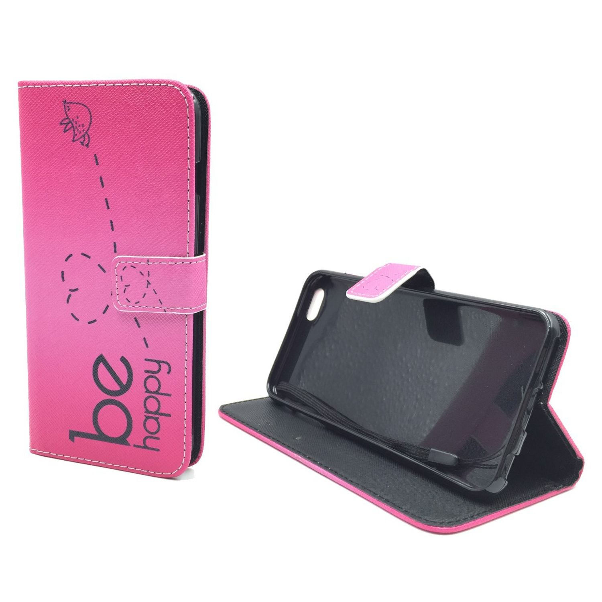 handyh lle tasche f r handy apple iphone 6 6s plus be happy pink. Black Bedroom Furniture Sets. Home Design Ideas