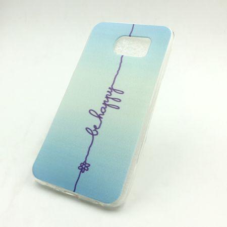 Handy Hülle für Samsung Galaxy S6 Cover Case Schutz Tasche Motiv Slim Silikon TPU Schriftzug Be Happy Blau