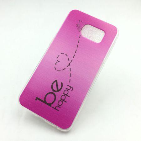 Handy Hülle für Samsung Galaxy S6 Cover Case Schutz Tasche Motiv Slim Silikon TPU Be Happy Pink