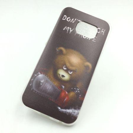 Handy Hülle für Samsung Galaxy S6 Edge Cover Case Schutz Tasche Motiv Slim Silikon TPU Schriftzug Bär mit Kettensäge – Bild 1
