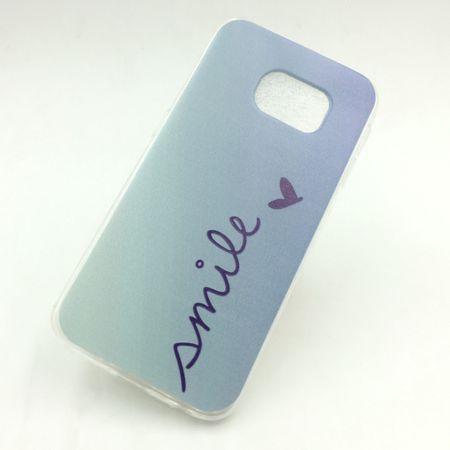 Handy Hülle für Samsung Galaxy S6 Edge Cover Case Schutz Tasche Motiv Slim Silikon TPU Schriftzug Smile Blau