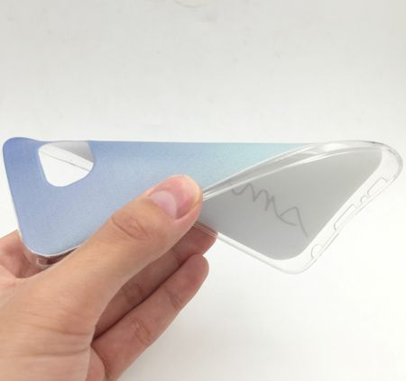 Handy Hülle für Samsung Galaxy S6 Edge Cover Case Schutz Tasche Motiv Slim Silikon TPU Schriftzug Smile Blau – Bild 2